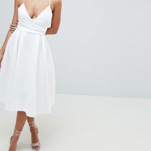 ASOS DESIGN Scuba Cami Prom Midi Dress Medium